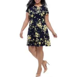 🏷Jessica Howard Floral Textured Fit & Flare Dress